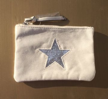 Faux Suede Star Purse/Make Up Bag - Beige
